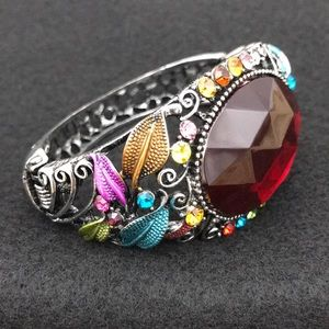 NWOT Colorful Enameled Leaves Rhinestone Bracelet